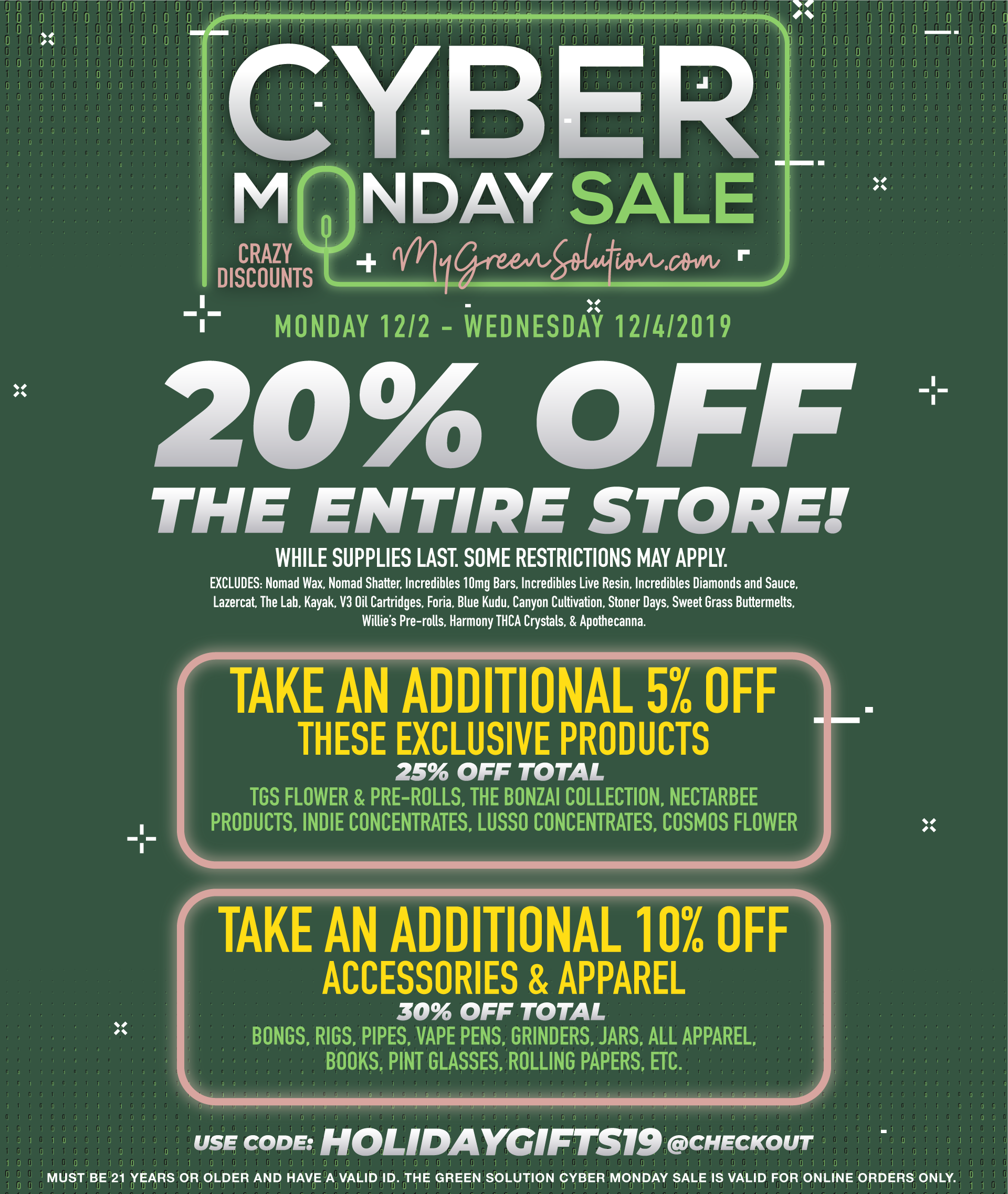 Cyber Monday Sale at The Green Solution