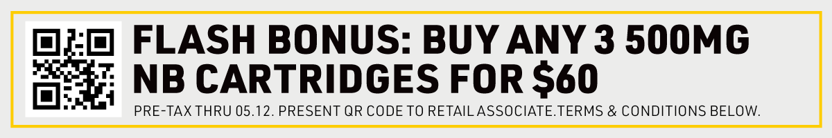 Web Banner: now thru 05/12 get 3 nectarbee 500mg carts for $60 pre-tax when you present this qr code to your retail associate at checkout.